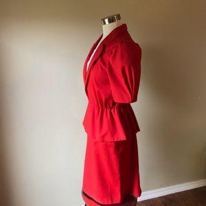 892c911b31c Vintage Dresses - Vintage Red Short Sleeve Peplum Secretary Dress